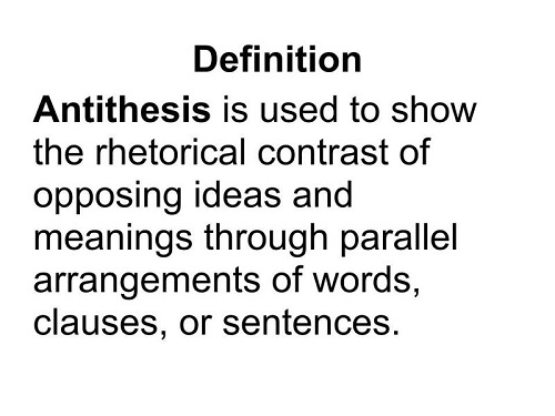 Use antithesis in a sentence the word